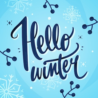 Hello winter text lettering