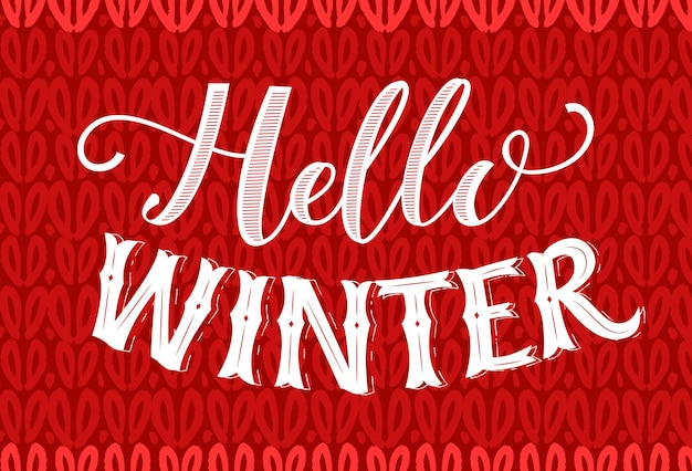 Hello winter text on red knitted texture. vintage banner with hand lettering. winter season vector retro card.
