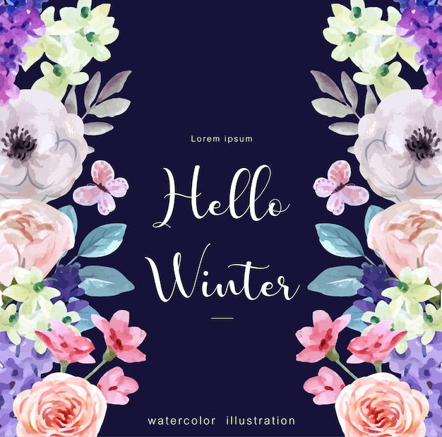 Hello winter watercolor background with winter attributes