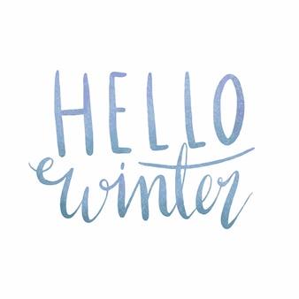 Hello Winter watercolor typography vector