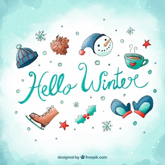 Hello winter watercolour background with winter attributes