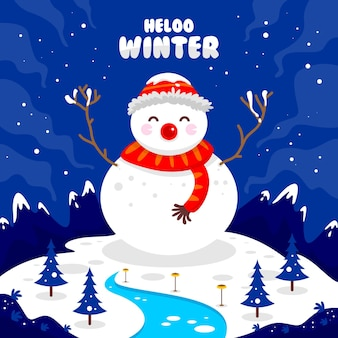 雪が降る山で雪だるまと一緒にこんにちは冬