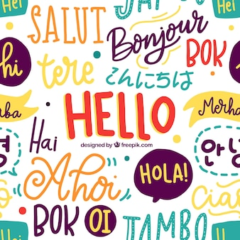 Hello words pattern in different languages
