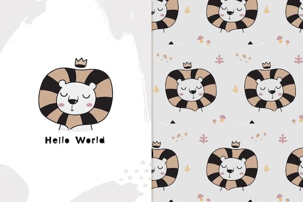 Hello world lion and seamless pattern