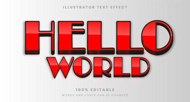 안녕하세요 세계 복고풍 편집 가능한 텍스트 효과