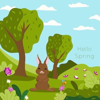 森の中で幸せなかわいいウサギとこんにちは春の背景