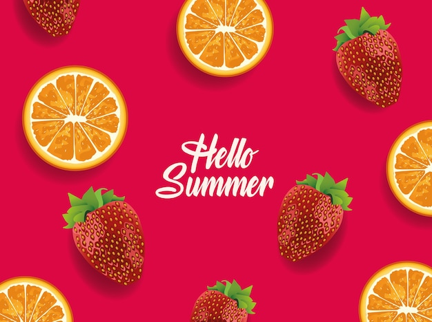 Hellow summer with oranges and strawberries fruits pattern.