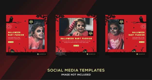 Helloween baby fashion clothes banners template post.