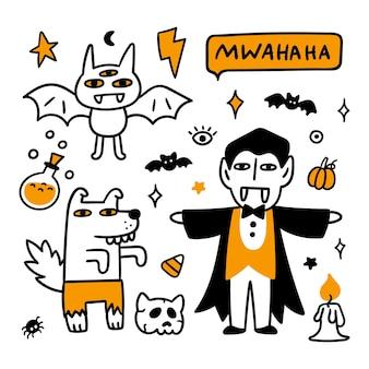 Хэллоуин мультики вампир оборотень и летучая мышь