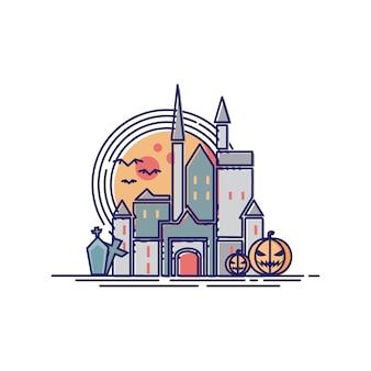 Helloween castle in line illustration