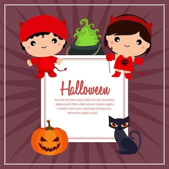 Helloween悪魔の子供の衣装の正方形のテキスト
