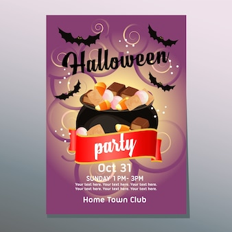 Helloween party poster with candy and treat