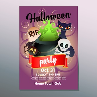 Helloween party poster with witch pot