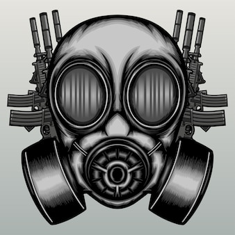Helmet gas mask with weapons in hand drawn