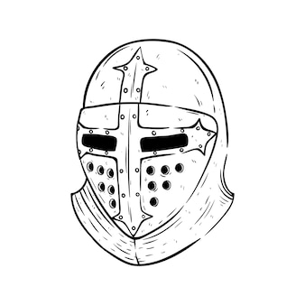 Helmet of gladiator with sketch or hand drawn style on white background