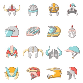 Helmet icons set