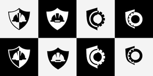 Helmet and shield work logo design