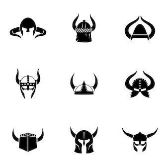 헬멧 벡터 집합입니다. 로고 디자인에 간단한 헬멧 모양 그림, 편집 가능한 요소를 사용할 수 있습니다.