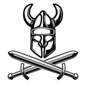 白い背景の上の交差した剣のヘルメット。図。