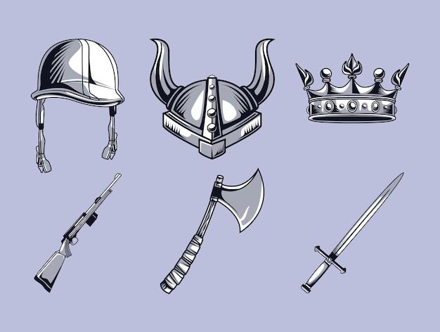 王冠付きのヘルメットと武器
