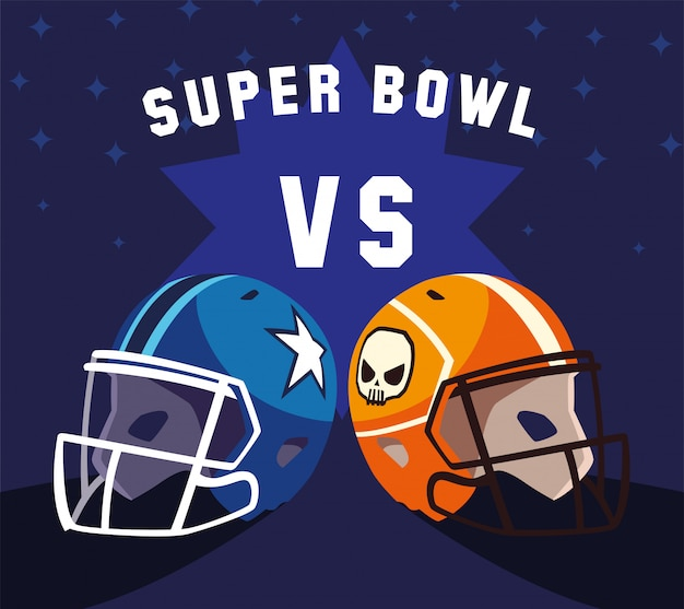Helmets of football american with super bowl label