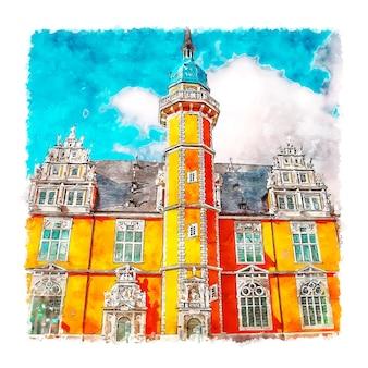 Helmstedt 독일 수채화 스케치 손으로 그린 그림