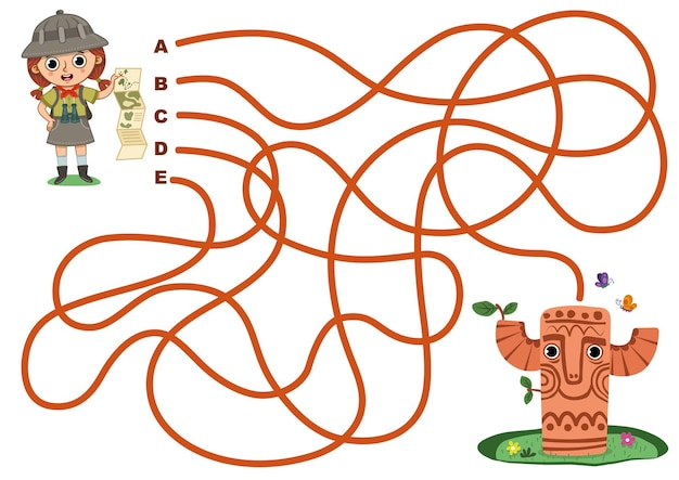 Help archaeologist girl to reach the totem vector illustration maze game