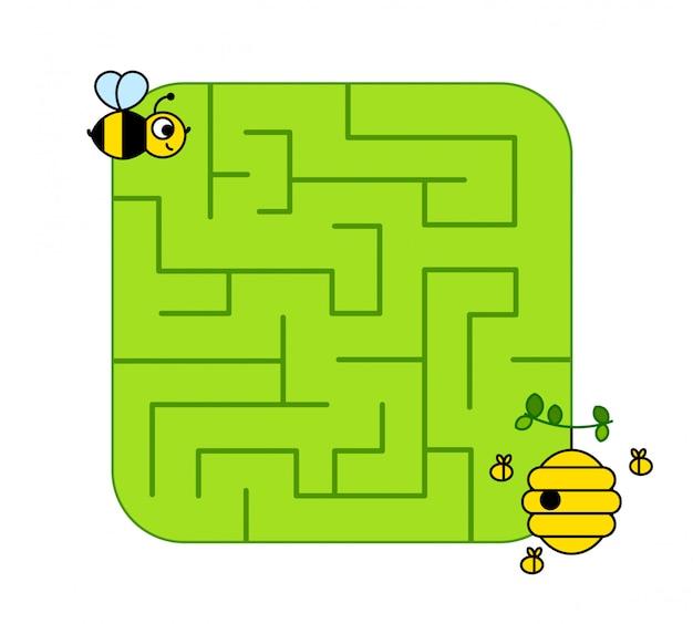 赤ちゃん蜂の子が巣箱への道を見つけるのを助けます。ラビリンス。子供向けの迷路ゲーム。パズル。 Premiumベクター