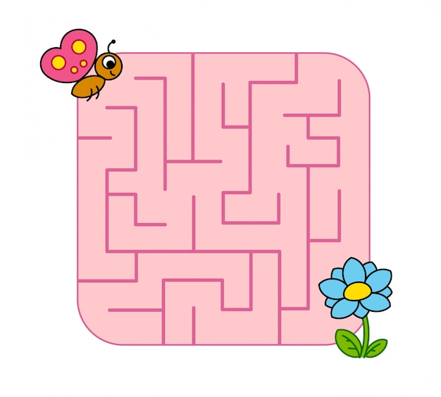 Help baby butterfly cub find path to flower. labyrinth. maze game for kids.  puzzle.