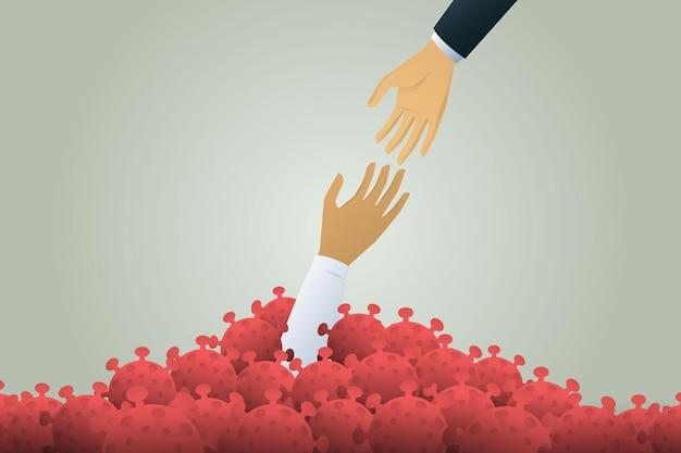 Help businessman to survive a drop in economic crisis form coronavirus and survive outbreak virus