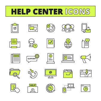 Help call center line icons set with support and information symbols flat isolated vector illustration