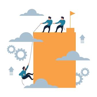 Help climbing to success together flat cartoon style