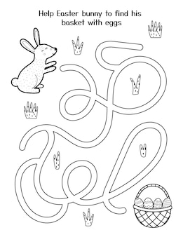 Help cute bunny to get his basket with eggs easter maze game for kids black and white spring activity page easter rabbit labyrinth puzzle