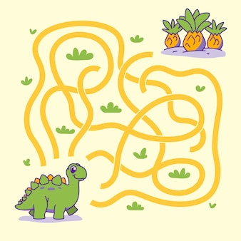 Help cute dino find the right path to plant. labyrinth. maze game for kids.   illustration