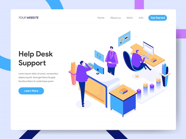 Help desk support isometric illustration for website page