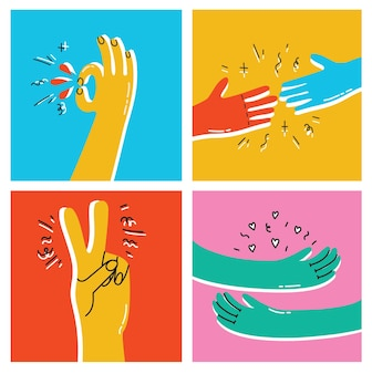 Help and empathy concept two hands helping one another vector simple minimal illustration, care give aid, friendship understanding, support.