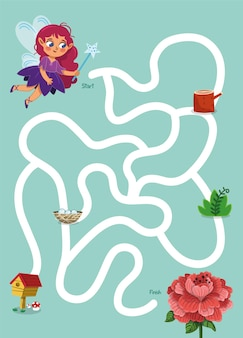 Help the fairy to rich the flower maze game for kids vector illustration