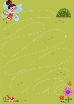Помогите фее найти цветы в игре-рисовании. векторная иллюстрация.