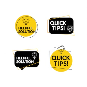 Help full solution, quick tips text label vector template design illustration