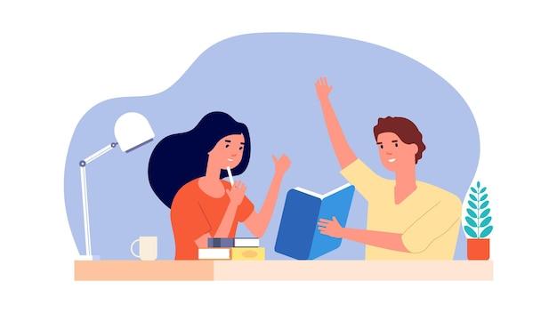学習に役立ちます。試験、独学、または新しいアイデアの検索の準備をしている学生。創造的な学生は、教科書を一緒にベクトルイラストを読んで、解決策を見つけました。教育学生、宿題をする