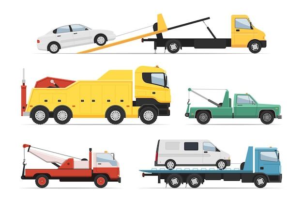 트럭, 구조 지원 화물 트레일러 트럭 세트를 도와주세요. 긴급 트럭 차량, 난파선 및 충돌 지원, 견인 자동차 서비스, 흰색 절연 자동차 운송 플랫폼 벡터 일러스트 레이 션