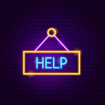 Help neon sign. vector illustration of business promotion.