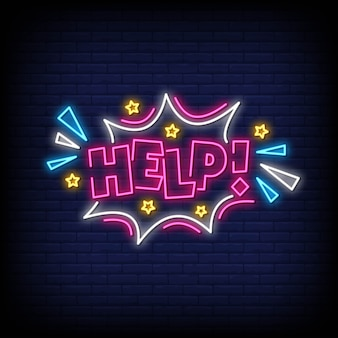 Help neon signs style text vector