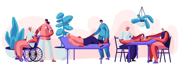 Help old disabled people in nursing home. concept illustration set