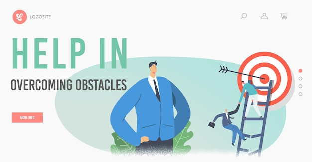 Help in overcoming obstacles landing page template. business characters climb broken ladder help each other. businesspeople try to reach target with arrow in center. cartoon people vector illustration