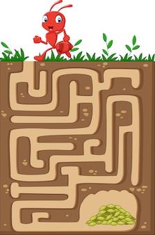 Помогите красному муравью найти путь к пищевым зернам