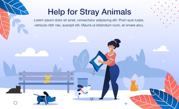 Help for stray animals flat vector banner template