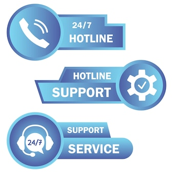 Help and support hotline buttons. online technical support. concept illustration for assistance, call center, virtual help service. concept of consultation. online assistant. vector