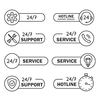 Help and support hotline icons. online technical support. concept illustration for assistance, call center, virtual help service. concept of consultation. editable stroke. online assistant. vector
