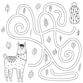 Помогите милой ламе добраться до кактуса. черно-белый лабиринт для детей. раскраска лабиринт для малышей. векторная иллюстрация